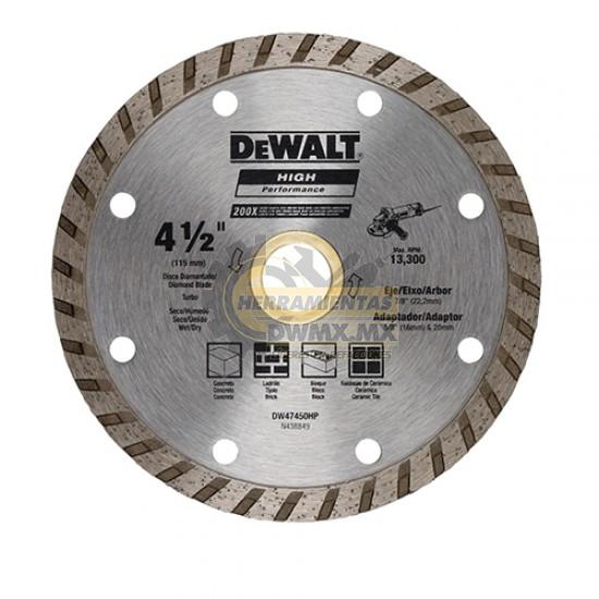 "Disco Diamantado Turbo 4-1/2"" DeWalt DW47450HP"